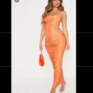 Strappy slinky Ruched back Midi dress